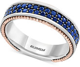 Effy Men's Sapphire Band (1-1/2 ct. t.w.) in Sterling Silver, 18k Rose Gold and Black Rhodium