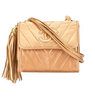 V Stitch tassel crossbody bag