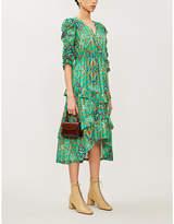 BA&SH Happy graphic-print metallic crepe midi dress