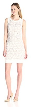 Sharagano Women's Sleeveless Lace Dress with Nude Lining