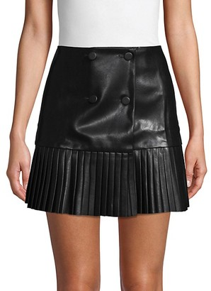 Avantlook Button Pleated Faux Leather Mini Skirt