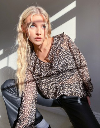 New Look ruffle front blouse in leopard print