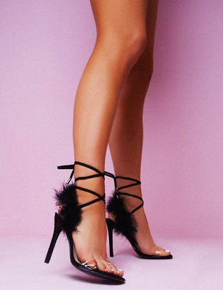 Public Desire Desiree Feather Lace Up Stiletto Heels