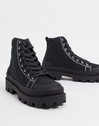 ASOS DESIGN black canvas boot with black sole