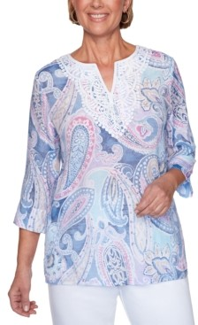 Alfred Dunner Petal Pushers Paisley-Print Lace-Trim Tunic Top