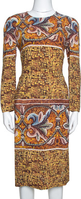 Dolce & Gabbana Yellow Mosaic Print Crepe Sheath Dress L