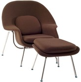 The Well Appointed House Modern Brown Lounge Chair & Ottoman Set With Stainless Steel Legs