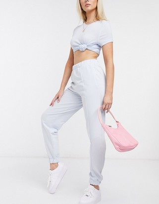ASOS DESIGN quilted panel jogger in ice blue