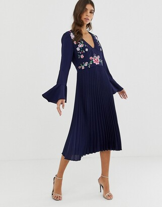 Asos DESIGN embroidered pleated midi dress with lace inserts