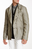 John Varvatos Star USA By Double Breasted Linen Officer Jacket