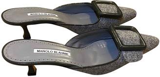 Manolo Blahnik Maysale Grey Tweed Heels