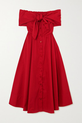 Oscar de la Renta Off-the-shoulder Draped Cotton-blend Poplin Midi Dress - Red