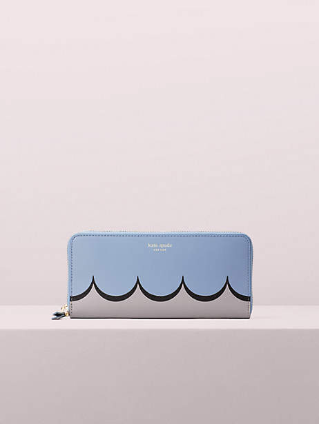 Kate Spade Intarsia Scallop Slim Continental Wallet, Horizon Blue