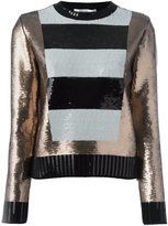 Max Mara striped panel sequin jumper - women - Virgin Wool - S