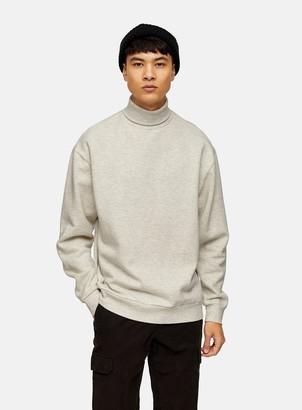 Topman Ecru Roll Neck Sweatshirt