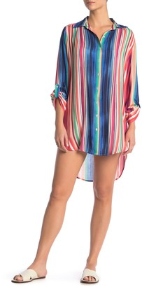 La Blanca Solar Striped Cover-Up Shirt Dress