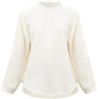 Apiece Apart Bravo Partial Button-down Cotton-gauze Top - Womens - Cream