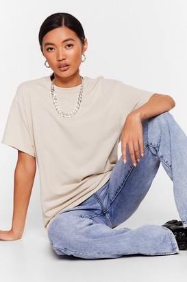 Nasty Gal Womens Get Back to Basics Crew Neck Fitted Tee - Beige - M