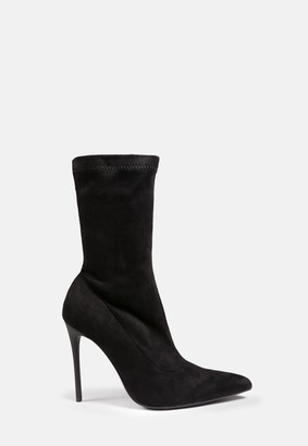 Missguided Black Faux Suede Stiletto Ankle Boots