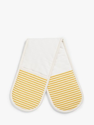 John Lewis & Partners Striped Double Oven Glove, Ochre
