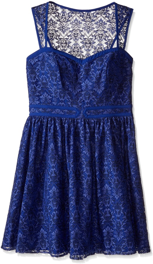 Minuet Women's Lace Fit and Flare Dress