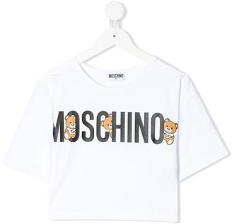 MOSCHINO BAMBINO cropped bears logo T-shirt