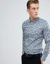 Moss Bros Extra Slim Shirt In Blue With Floral Print