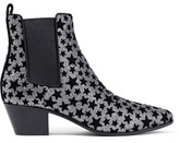 Saint Laurent Rock Flocked Glittered Leather Ankle Boots - Silver