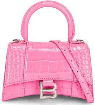 Balenciaga XS Hourglass Top Handle Bag in Baby Pink   FWRD