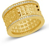 Thumbnail for your product : Sterling Forever Textured Spike CZ Thick Band