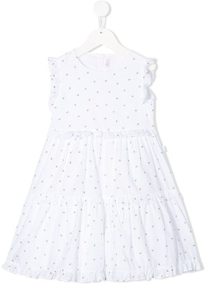 Il Gufo Bee-Print Tiered Dress