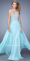 La Femme Jewel Encrusted Illusion Cutout Back Prom Dress