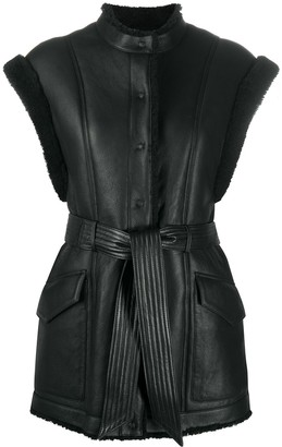 FEDERICA TOSI Fur-Trimmed Sleeveless Lambskin Jacket