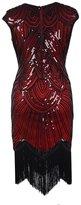 Ez-sofei Women's Vintage Sequined Embellished Tassels Gatsby Flapper Cocktail Dresses (XL, )