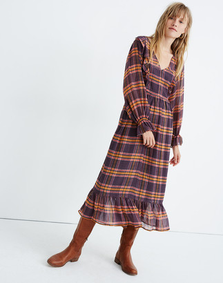 Madewell Sheer Plaid Full-Sleeve Ruffle Dress