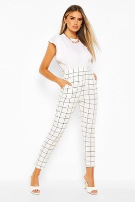 boohoo Grid Check Skinny Trouser