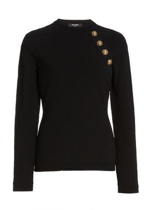Balmain Button-Detailed Jersey-Knit Sweater