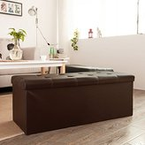 Haotian faux leather storage ottoman,folding storage bench with Seat cushion,FSS16-EL-KA ,Brown, 110cm(43.3in)x 38cm(14.9in) x 38 cm(14.9in)