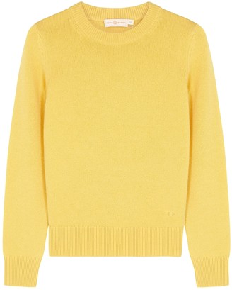 Tory Burch Yellow Paillette-embellished Cashmere Jumper