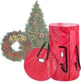 "Elf Stor Deluxe Christmas Tree Storage Bag & Canvas 30"" Inch Wreath Bag"
