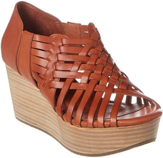 Chocolat Blu Woody Leather Wedge Sandal