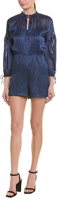 Alice + Olivia Ruffled Silk-Blend Romper