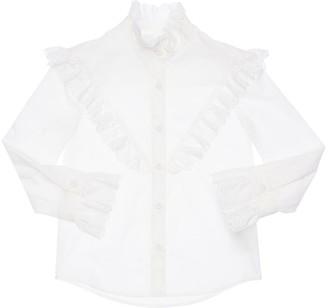Philosophy di Lorenzo Serafini Cotton Poplin Shirt W/ Eyelet Lace