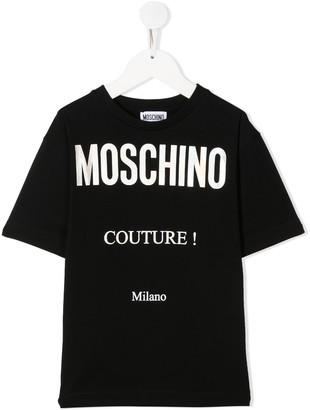 MOSCHINO BAMBINO logo-print crew-neck T-shirt