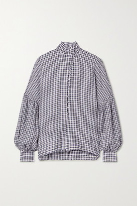 Mother of Pearl Quinn Checked Woven Blouse - Navy
