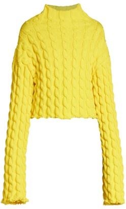 Balenciaga Cable-Knit Mockneck Sweater