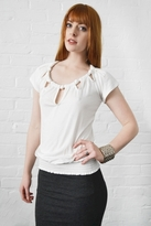 Rebecca Beeson Knotted Flutter Top in Antique White