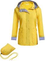 Meaneor Women's Hooded Long Sleeve Zip Buttons Rainproof Windproof Jacket Raincoat L