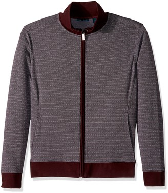 Perry Ellis Men's Big-Tall Cotton Blend Jacquard Full Zip Knit-Men's Shirt