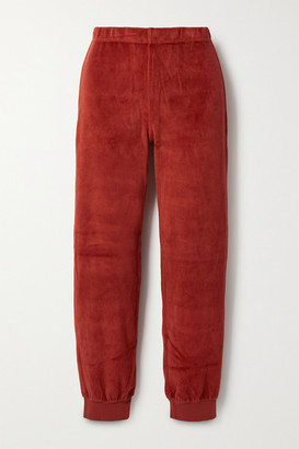 SUZIE KONDI Stretch Cotton-blend Velour Track Pants - Red